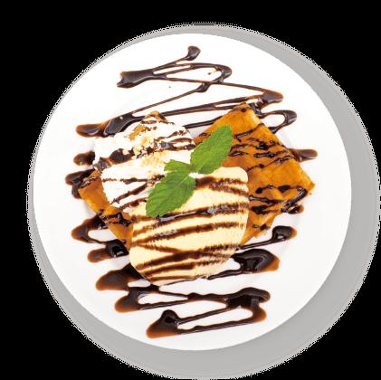 チョコレートソース&<br>ジェラートのワッフル詳細写真